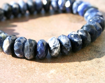 Sodalite 8mm Faceted Rondelle