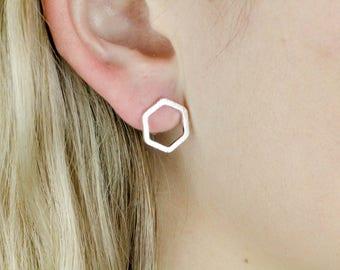 Silver Hexagon Earrings, Hexagon Studs, Hexagon Earring, Silver Dainty Earrings, Honeycomb Earrings, Silver Hexagon, Geometric Earrings