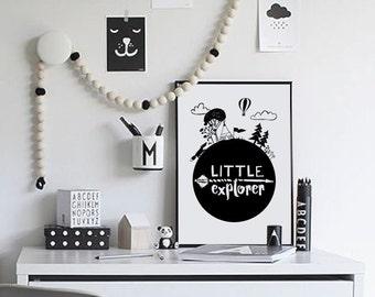 Adventure Nursery Decor, Little Explorer, Monochrome Nursery Wall Art, Black and White Scandinavian Boys Nursery Printable Art Kids Wall Art