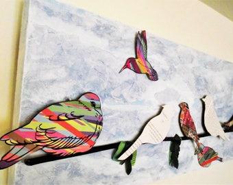 3D Bird Art Birdies on Branch Paper Collage Foam Newspaper Book pages Birds wire Twitter Tweeting