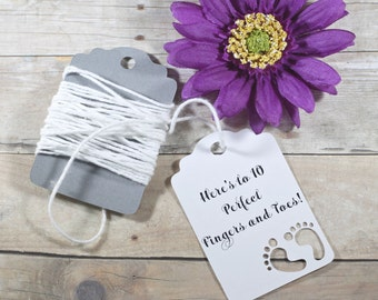 Baby Shower Tags 20pc - Die Cut Baby Feet - White Baby Favor Tags - Here's to 10 Perfect Fingers and Toes - Neutral Shower Favors