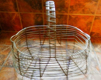 Vintage Antique Wire Egg / Gathering Basket, Farmhouse Chic, Cottage Chic, Primitive
