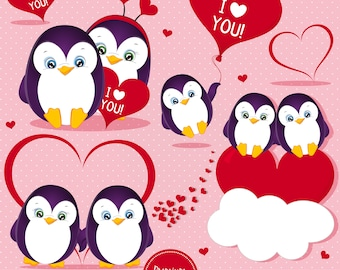 Valentine clipart, Love clipart, Valentines day clipart, Penguin clipart, Digital graphics, Commercial use - CA513