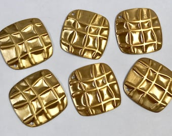 VINTAGE Brass Stamping Earring Square Patterned New Old Stock Textured 20x20x1mm pkg6 m135