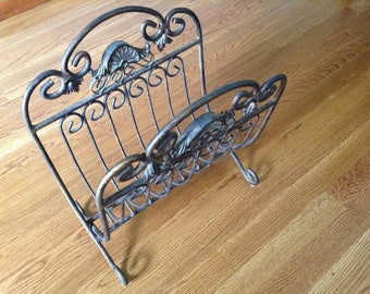 Vintage Old World Style Magazine, Black and Gold Metal Rack