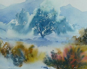 Landscape original watercolor on arche paper