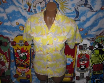 Tropicana YELLOW PALM TREES hawiian shirt - sz m - vintage 80s