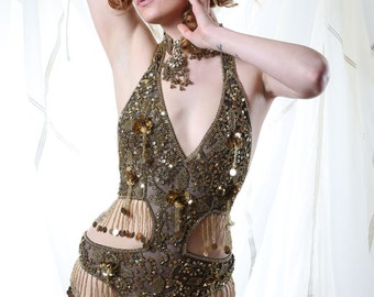 Embellished Gold Sequin Showgirl Body