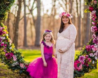 Size 8-10, Blush SHEERS Maternity Dress, Maxi Long Pregnancy Lace Gown, Eyelash Lace Dress, Maternity Bridal Dress, Bohemian Maternity