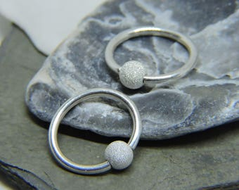 Cartilage Rings - 1 or SET of 2 - Solid .925 Sterling Silver Ear Jewelry 16G or 14G Beaded Captive Ring - Tragus Helix Daith Rook Snug