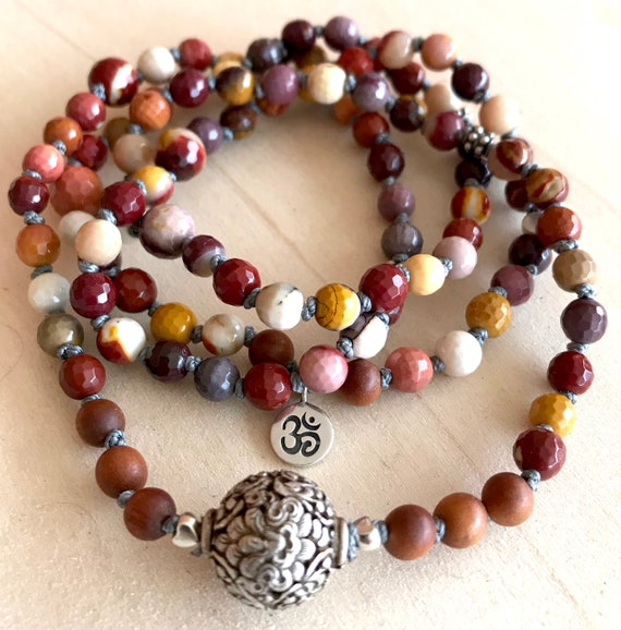 Mookaite Mala Beads / Buddhist Mala Beads / 8 Auspicious Path / Protective Mala Beads / Mala for Calm and Peace / Meditation & Yoga Beads