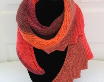 Shawl Shawlette Scarf Shades of Orange & Rusts - Saw Tooth Edge - Wool Blend - Hand Knit