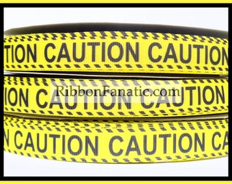 """5 yds 5/8""""  Yellow and Black Caution Tape Grosgrain Ribbon"""