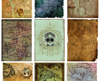 Shabby Victorian Map Collage Sheets, Mixed Media Collage Sheet, Altered Art Collage Sheet, INSTANT DOWNLOAD