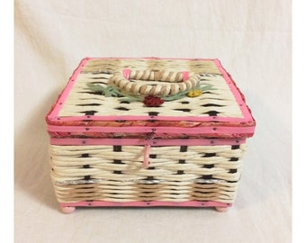 Small Pink and Cream Sewing Basket With Flowers