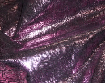 """Leather 8""""x10""""  Metallic Diamond Python PASSION PINK on BLACK embossed Cowhide 2.75-3 oz /1.1-1.2 mm PeggySueAlso™ E8140-02"""