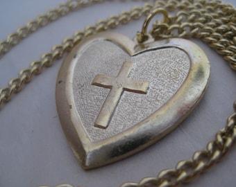 Heart Cross Gold Necklace Vintage Pendant Christian