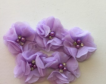 "2.5"" Lavender Light Purple Chiffon Flower with Pearl and Rhinestone Center set of 5"