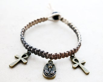 King Tut Bracelet - Ankh Egyptian Culture Hemp Bracelet - Hemp Jewelry