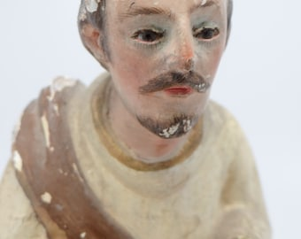 Early 1900 Jesus Christ Santos,  Glass Eyes, Antique Hand Painted