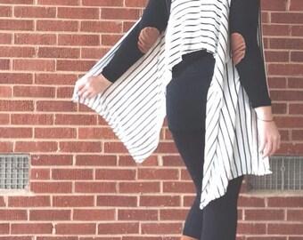 Skinny Stripe Scarf Vest 5-in-1