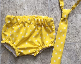 RTS in a size 12- 24 Month Necktie, Diaper Cover Set Yellow/White Polka Dot Photography Prop, Dressy Baby Boy