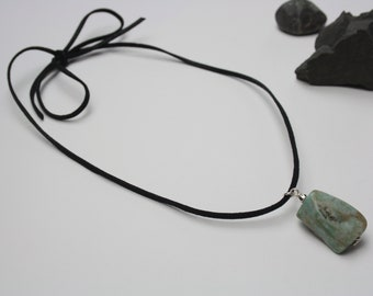 Amazonite genuine gemstone pendant necklace on suede cord