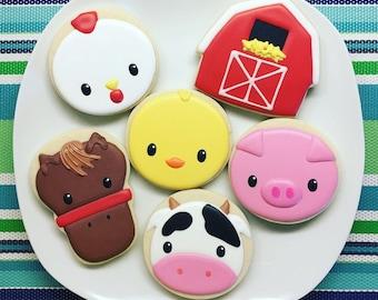 Eighteen (18) Farm Animal Sugar Cookies