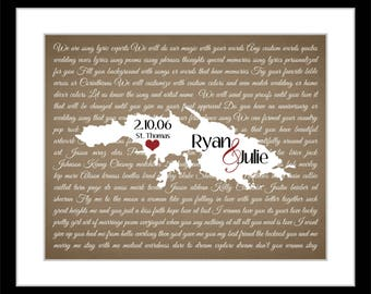 ANY Destination Wedding Gift For Husband Wife, Custom Song Wall Art Print Unique Picture Country Map I Wont Give Up Lyrics Valentine Gifts