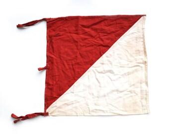 Signal Flag Semaphore Flag WWII Signal Flag Army Signal Flag Red and White Flag