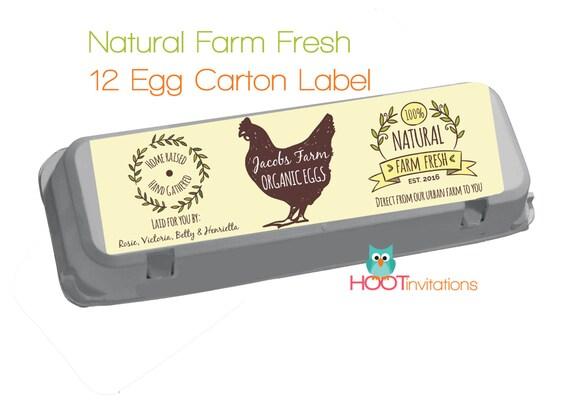 Custom Egg Carton Label Vintage style Fresh Eggs Label
