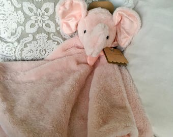 PINK ELEPHANT Blanket/Security Blanket with Monogram/Baby gift/Shower Gift/Nursery