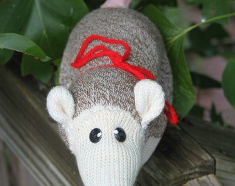 Handcrafted Sock Monkey Opossum