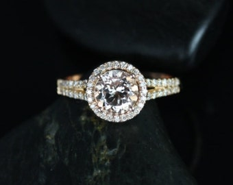 Rosados Box Morgan 7mm 14kt Rose Gold Round Morganite and Diamond Halo with a Split Band Engagement Ring
