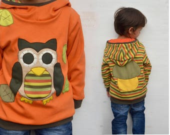 Unisex owl hoodie for kids, owl sweater, owl lover gift, owl baby gift, owl baby clothes - reversible, yellow / stripes-made to order