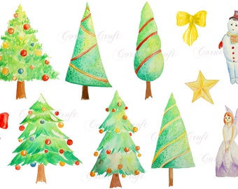 Digital watercolour Christmas trees snowman fairy instant download scrapbook watercolor cards wedding invitations clipart