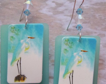frosted egret beach charm sea glass earrings