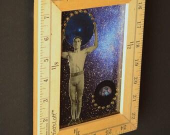 Implied Infinity:  original collage, mixed media art, assemblage art, framed art, celestial art, spiritual art, Leslee Lukosh, Foundturtle
