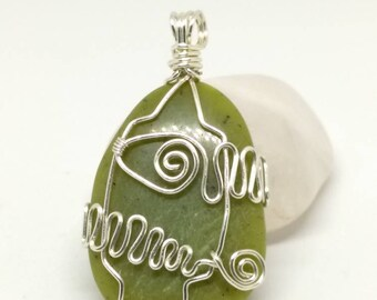 Wire Wrapped Serpentine stone pendant