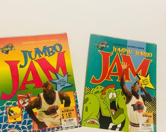 Vintage 90s lot of 2 jumbo space jam coloring books