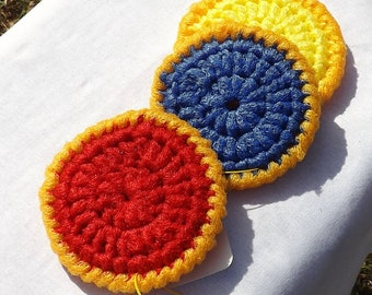 Kitchen Gift Set:  Three Large Nylon Mesh Scrubbies, Double Sided in Primary Colors, Safe for Nonstick Pans, for Scrubbing Vegetables