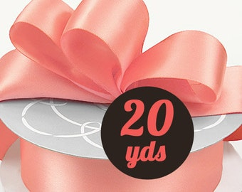"Satin Strawberry Coral Ribbon - 7/8"" wide at 20 yards"