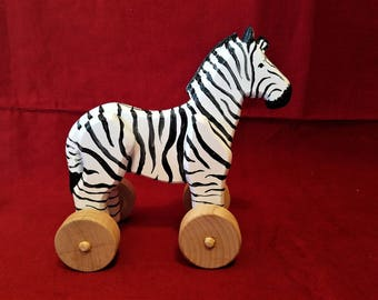 Large Wooden Zebra with Attachable Pull String For Toddlers and Kids