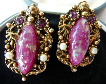 Selro Selini clip earrings | Renaissance Revival ornate baroque | vintage unsigned | verified Kathie Davis | glass art confetti stones