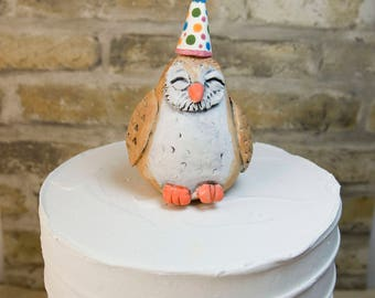 Owl Themed Birthday Party Cake Topper (Ready to Send)