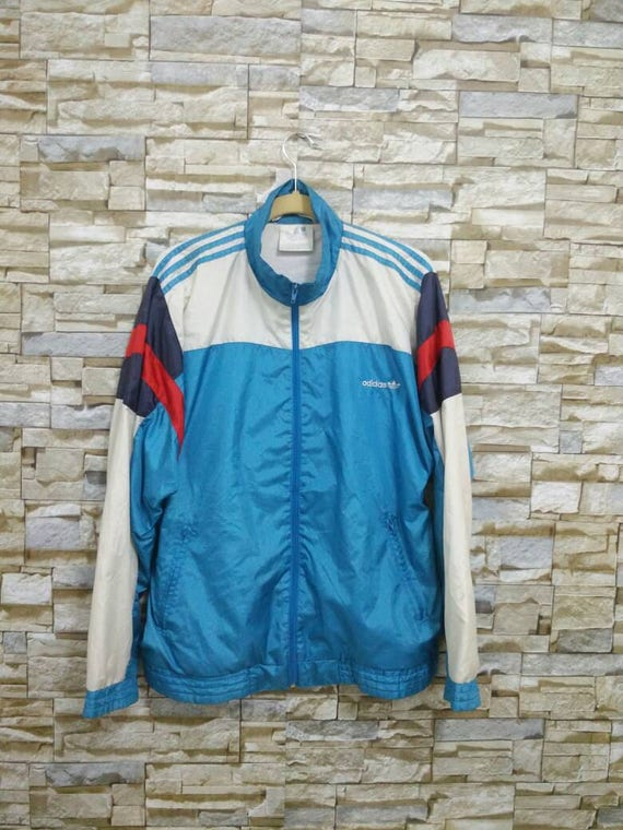 Vintage Adidas Jacket Windbreaker Adidas Tracksuit Embroidered Logo Adidas Colour Block Rare Adidas Run Dmc Hip Hop Rap Swag Style XL lq3akRSwdh