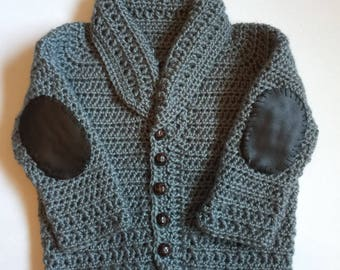 Handmade Crocheted Cardigan Sweater with Elbow Patches - Any Color - 12 months to 13 years