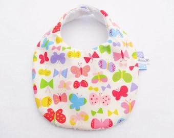 Baby bib in cotton with pretty butterflies - baby girl bib