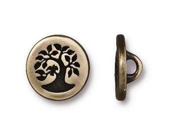 "TierraCast BIRD in a TREE Buttons, Brass Oxide, 12mm SmallMetal Button, Qty 4 to 20, Jewelry Findings 1/2"" Bracelet Clasps, Tree Button"
