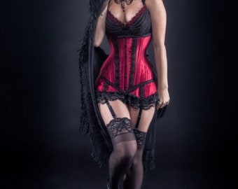 Custom Made Red Under Bust Corset and Garter Set
